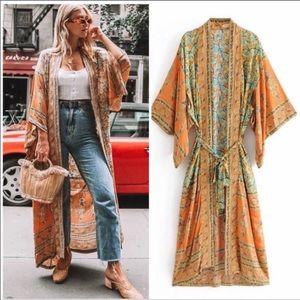 Vintage Canyon Wispy Floral Boho Gypsy Kimono
